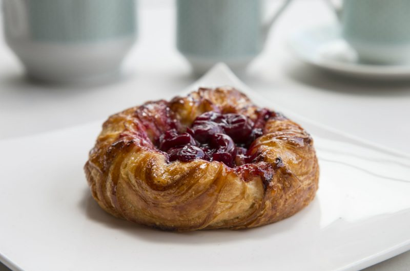 Cherry and ricotta danish pastry