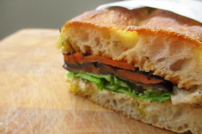 A vegetarian sandwich in Italian focaccia bread